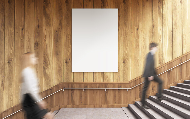 A Blank Poster On Stairs