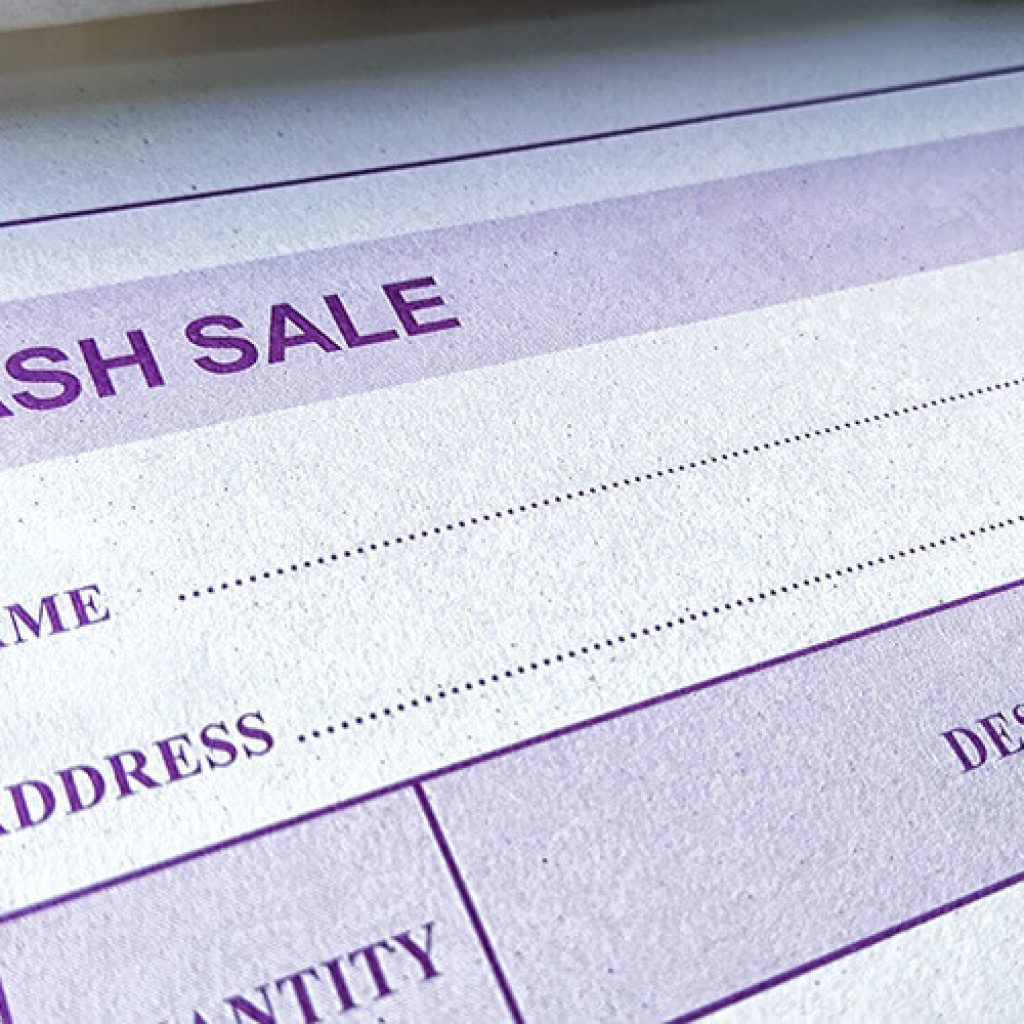 close up of a printed receipt book