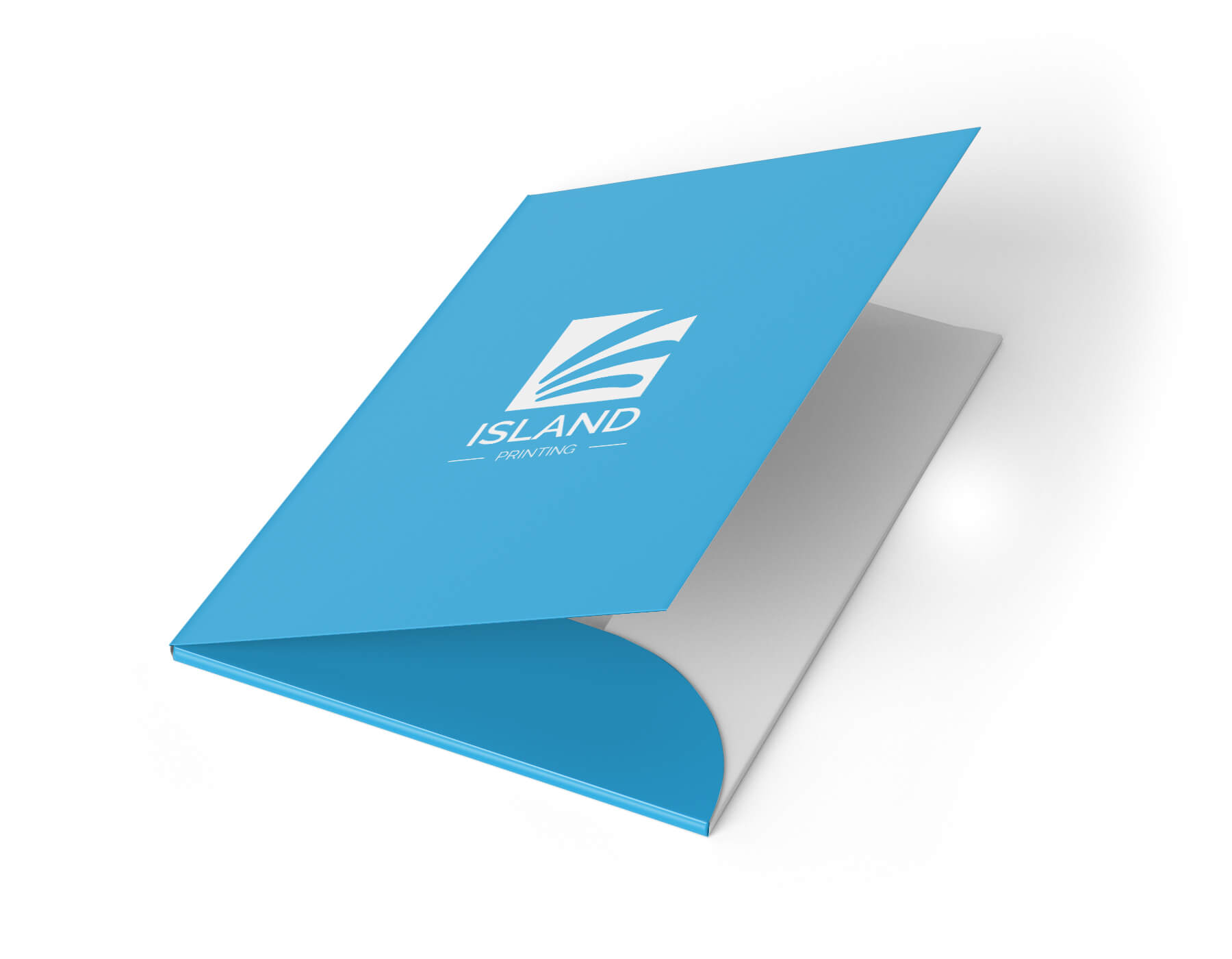 A printed presentation folder