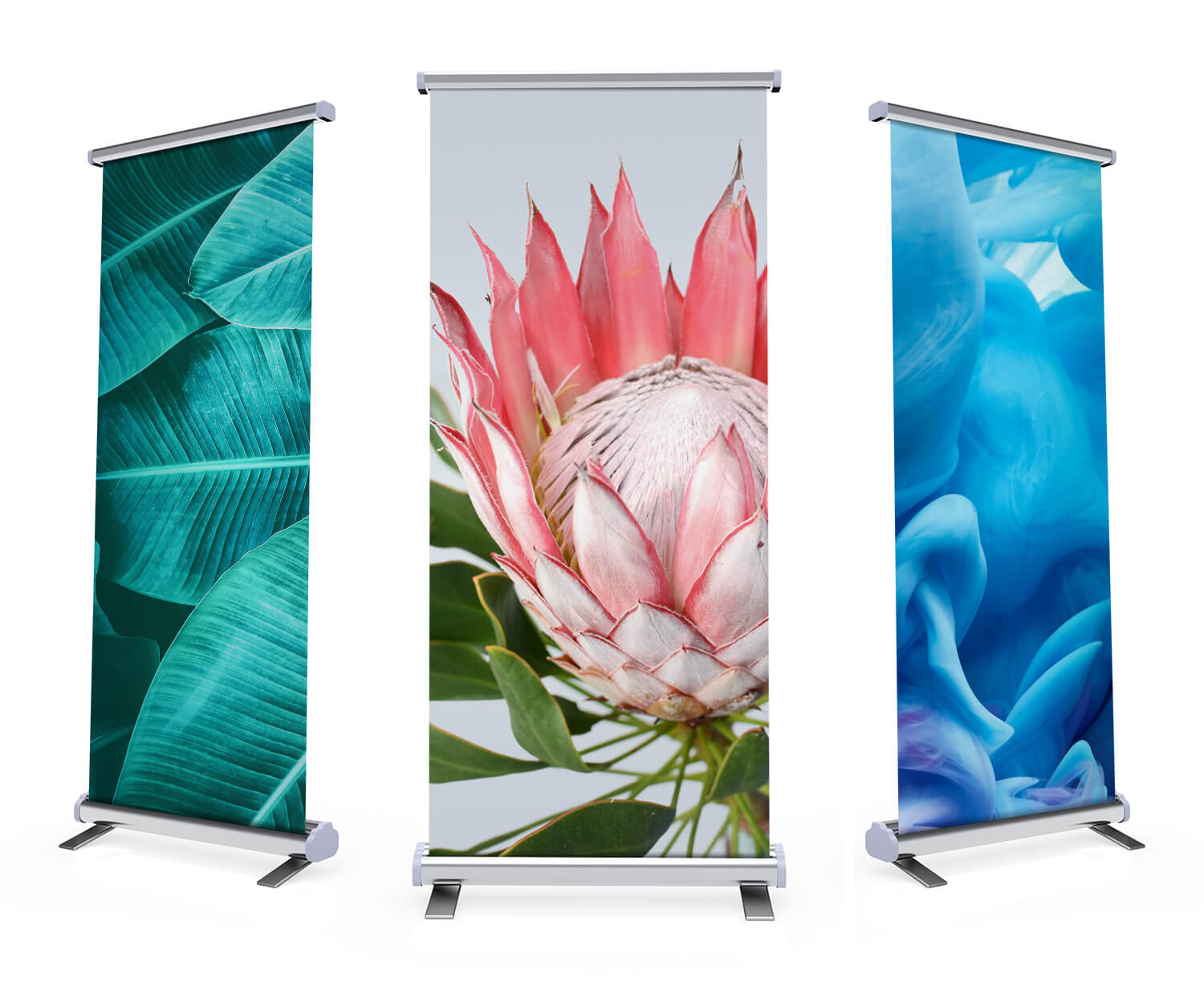 Three pull up banners